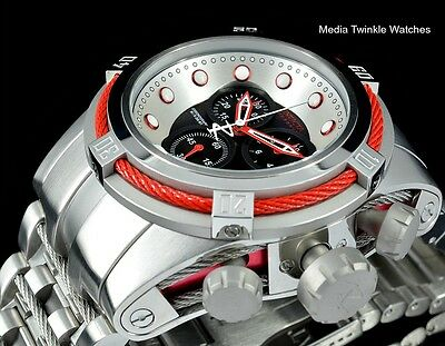 Invicta RESERVE Bolt Zeus Swiss Chronograph Red Bezel Black Dial Bracelet Watch