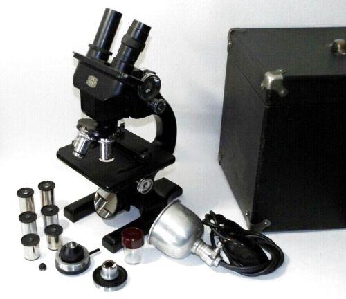 SPENCER LENS CO. BUFFALO STEREO BINOCULAR MICROSCOPE W-CASE + LAMP + EXTRAS
