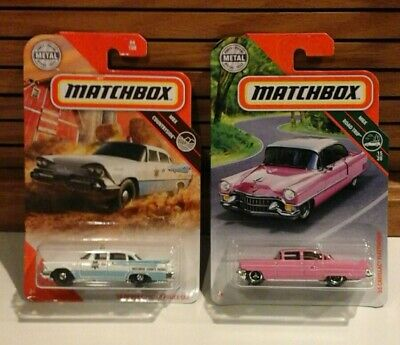 Lot of 2 2020 Matchbox '59 Dodge Coronet Police Car & '55 Cadillac Fleetwood