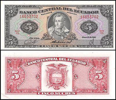 Ecuador 5 Sucres Banknote  1980  P 113C  Unc