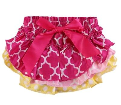 Brand New Baby Frilly Knickers Nappy Cover Hot Pink with Big Pink Bow 6-12