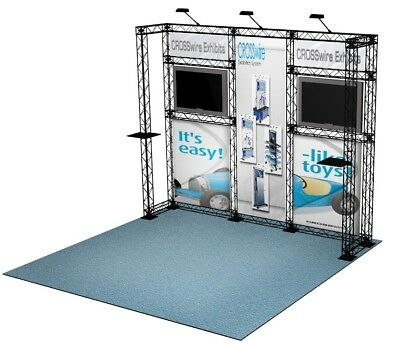 Crosswire 10x10 Portable Banner Stand Exhibit Booth Display Pop Up Graphic Truss