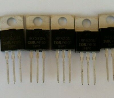 5 Pcs Irf520 Irf520n To-220 N-channel Ir Power Mosfet Usa Seller Free Ship