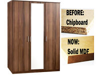 **7-DAY MONEY BACK GUARANTEE!** Solid Wood 3 Door German Wardrobe - DELIVERED SAME DAY!