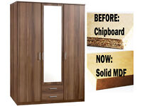 **7-DAY MONEY BACK GUARANTEE!** OMEGA GERMAN 3 DOOR WARDROBE - NOW IN SOLID MDF!! EXPRESS DELIVERY!