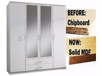 WHITE AND WALNUT CLASSIC OFFER- 4 Door Osaka German Wardrobe or 3 Door Wardrobe - SAME DAY DELIVERY!