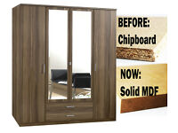 **7-DAY MONEY BACK GUARANTEE!**- Omega 4 Door Wardrobe- Solid MDF - SAME/NEXT DAY DELIVERY!