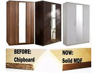 **7-DAY MONEY BACK GUARANTEE!**- Holgate 3 Door German Wardrobe w/ Mirror - NOW IN SOLID MDF!