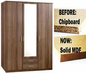 BRAND NEW OMEGA 3 DOOR GERMAN WARDROBE - NOW IN SOLID MDF - DELIVERY AVAILABLE ALL OVER LONDON