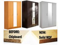 CHEAP PRICE🌷MDF SOLID WOOD🌷BRAND NEW 3 DOOR WARDROBE WITH CENTER MIRROR IN BEECH,OAK, WENGE, WHITE