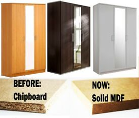 GET YOUR ORDER NOW🚚SOLID MDF🚚BRAND NEW 3 DOOR WARDROBE W FULL MIRROR IN BEECH/OAK/WHITE/WENGE CLRS