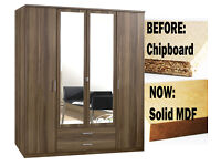 **7-DAY MONEY BACK GUARANTEE!** Omega 4 Door or 3 Door Solid MDF Wardrobe - SAME/NEXT DAY DELIVERY!