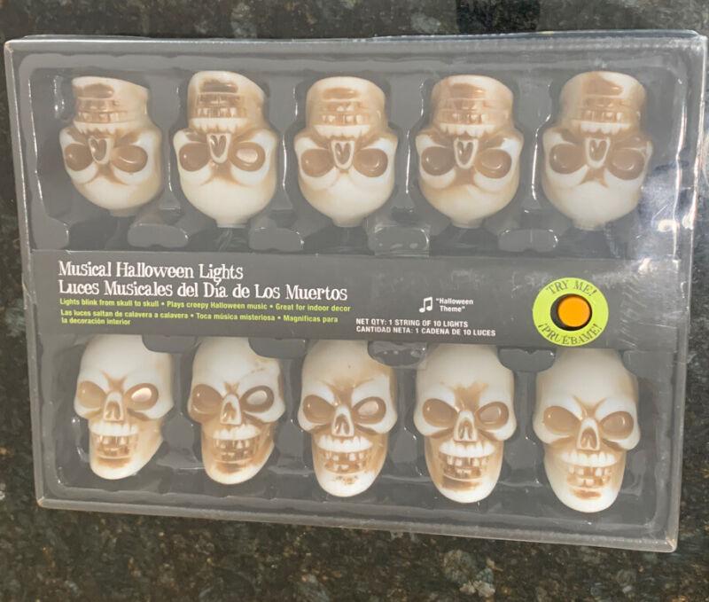 New 10 ct. Gemmy Musical Halloween Skull Skeleton String Lights NEW