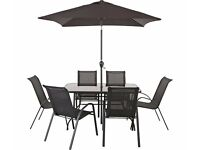 Sicily 6 Seater Patio Set with Parasol