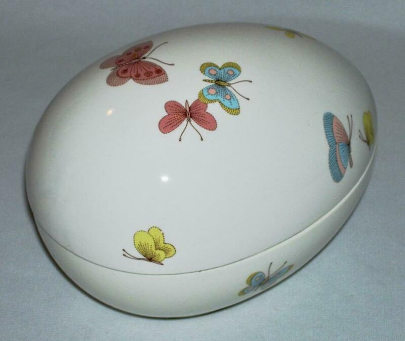 "FITZ & FLOYD ~ Quality Porcelain 6.25"" Oval 2-Pc EGG BOX (Butterflies) 1977"