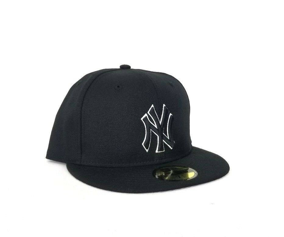 8e3c84e2b0a26 New Era 59Fifty Black with White Outline New York Yankees Logo fitted hat.  NEW ARRIVAL!