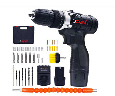 Cordless Drill With 2 Batteries - Electric Screw Driver Set 100pcs With