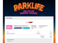 Parklife 2018 Weekend Ticket x1