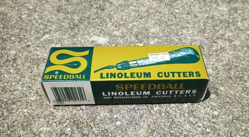 SPEEDBALL Vintage Linoleum Cutter Lot Original Box Guide  Size 1 & 5