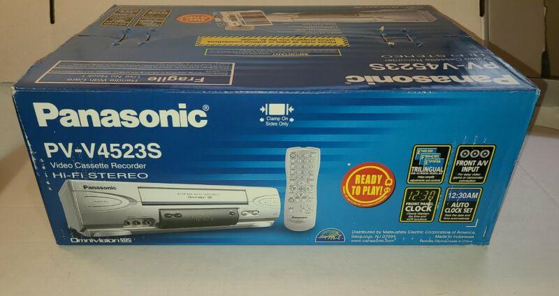 NEW SEALED Panasonic 4 Head VCR PV-V4523S, VHS Remote Box NIB + NEW VHS Tape