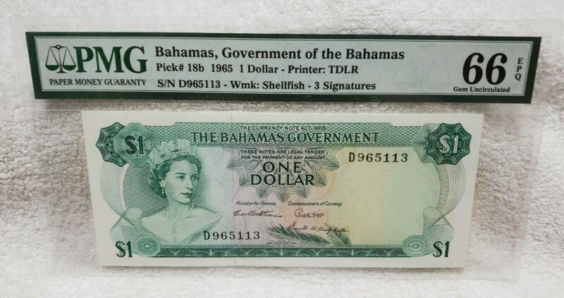 Bahamas, Government of the Bahamas P#18b 1965 1 Dollar PMG 66 EPQ Gem UNC