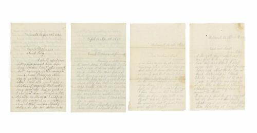 Lot of 4 Civil War Letters by Private Edward D. Carpenter, 8th Connecticut -1863