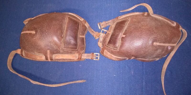 Antique ~1950 Polo Brown Leather Riding Knee Pads
