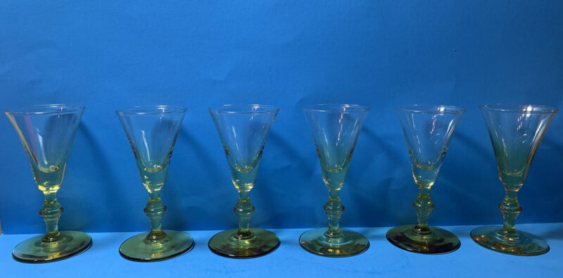 Set Of 6 Vintage Amber Cordial Glasses