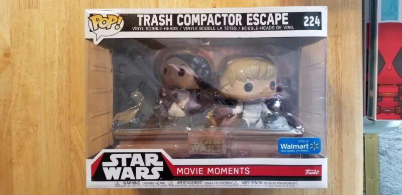 Star Wars Leia and Luke Skywalker Trash Compactor Escape Movie Moment Pop!
