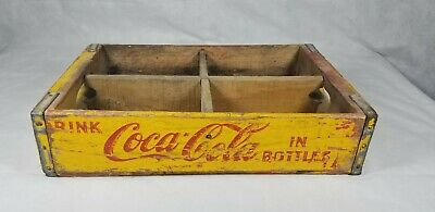 Vintage Yellow 1976 Chattanooga Coca Cola Wooden Crate Bottle Carrier