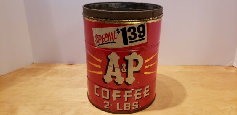 Vintage A & P Brand Coffee Can, 2 LBS Clean!!
