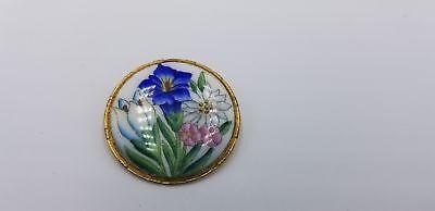 Antique Gold Tone Enamel Base Multi Color Painted Flowers Pin / Brooch  Antique Gold Tone Base
