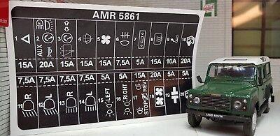 Land Rover Defender 90 110 Decal Label Badge AMR5861 Fuse Box Information