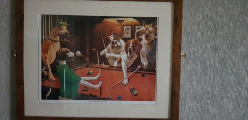 Dog Characture playing Pool Framed Pictures X 5
