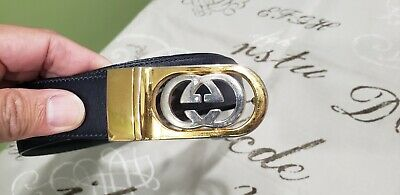 Vintage Gucci Italy GG Logo Buckle Reversible Gold Silver Tone w/ Black & Blue