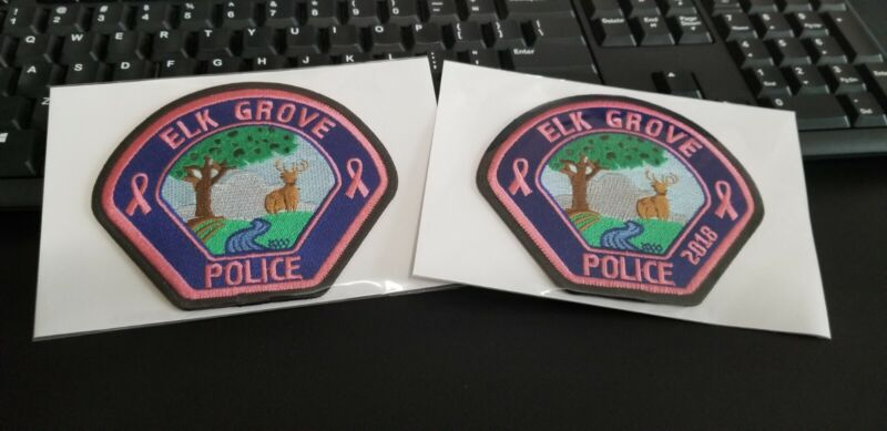 2 Elk Grove California Police Patches PINK Breast Cancer Awareness