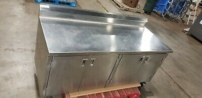 Spg 72 X 30 Stainless Steel 4 Door Kitchen Cabinet Work Table 6 On Casters