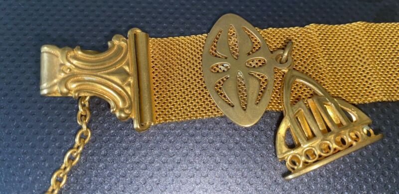"""Antique Victorian Yellow Gold Filled Ornate Watch Fob Chain 7 1/2"""""""