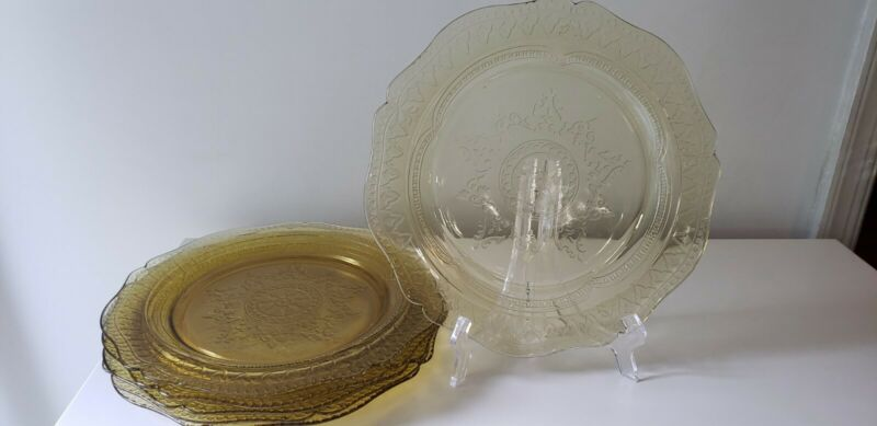Antique LOT 6 Federal Patrician Spoke Amber Yellow Depression Glass Dinner Plate