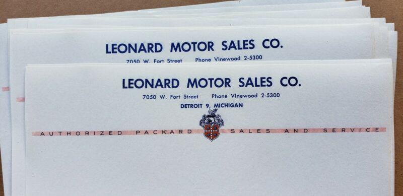 Packard Motors Stationary letterhead Detroit 1950s 1940s dealership dealer