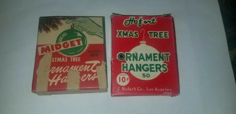 SET OF VINTAGE CHRISTMAS BOXED ORNAMENT METAL HANGERS J. HOFERT & MIDGET BOX