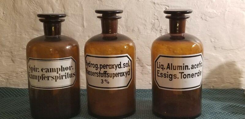 Vintage Chemistry Bottles Brown German Labels