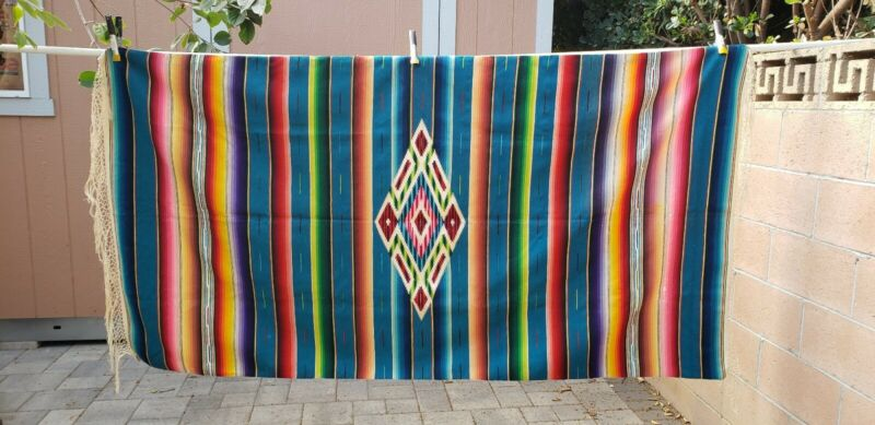 """Vintage Mexican Serape Saltillo Wool Rug 87""""x46"""""""