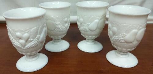 Westmoreland DELLA ROBBIA Milk Glass Set 4 Scarce 8 Oz Footed Tea WATER TUMBLERS