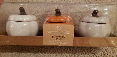 New Chesapeake Bay Candle Pumpkin Spice Ceramic small Pumpkin Jars 3 Piece Set