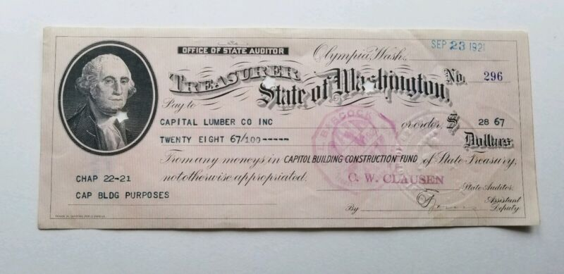 WASH.STATE CAPITOL OLYMPIA AUDITOR TREAS.GOV CHECK 1921 CAPITAL LUMBER CO INC