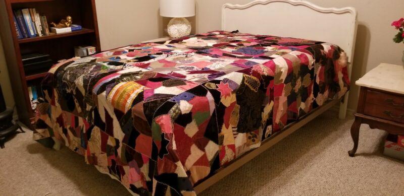 """Full Sized Antique Victorian Crazy Quilt Silk & Velvet w/ Leaf Designs 88""""x 96"""""""