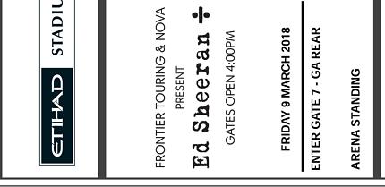2 x Ed Sheeran tickets - Melbourne Etihad Stadium, 9th March 2018