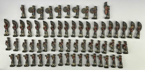 Large Lot of 63 Antique Lead US Army Toy Soldiers Marching Band Painted Heavy