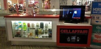 Mall Kiosk Stand. With Light Up Slatwall Windows And Signs Display 10x12